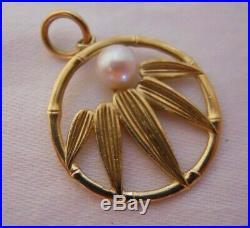 Vintage 14k Gold MIKIMOTO AKOYA PEARL BAMBOO Bracelet Charm Pendant #19003C