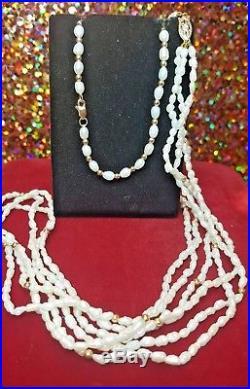 Vintage 14k Gold Natural Pearl 3 Strand Necklace & Bracelet Set Wedding Bridal