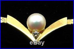Vintage 14k Gold Pearl & Diamond Bracelet Chevron Design! Beautiful