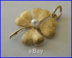Vintage 14k Gold Pearl FOUR LEAF CLOVER GOOD LUCK Bracelet Charm 1.9 gr #19012A