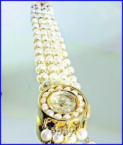Vintage 14k Gold and Pearls Lucien Piccard Ladies Watch Bracelet