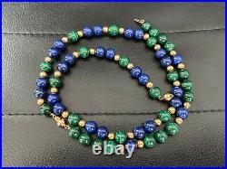 Vintage 14k Large Yellow Gold Malachite Lapis Lazuli Bead Necklace Bracelet Set