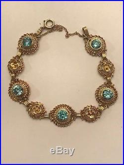 Vintage 14k Yellow Gold Bezel Set Blue Zircon & Seed Pearl Bracelet 6 1/2 10 Gr