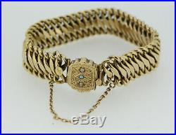 Vintage 14k Yellow Gold Braided Link Bracelet with Pearl/Turquoise Stones 8