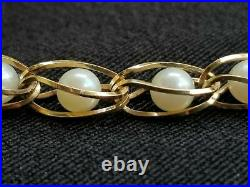 Vintage 14k Yellow Gold Caged Pearl Link Bracelet Estate Jewelry Ladies 6.7 gm