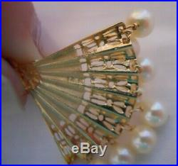 Vintage 14k Yellow Gold LADIES HAND FAN WITH PEARLS Bracelet Charm 4.3 g #18028C