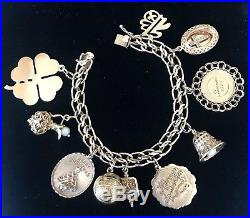 Vintage 14k Yellow Gold Mid Century Charm Bracelet with 10 Large Charms 55grams