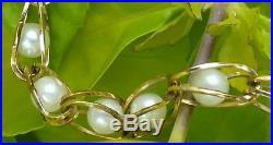 Vintage 14k Yellow Gold Pearl Link Bracelet Estate Jewelry Ladies 6.7 gm