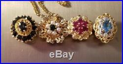 Vintage 14k Yellow Gold Sapphire Pearl Floral Flower Slide Bracelet Charm