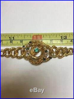 Vintage 18K Yellow Gold Sea Pearl & Emerald Necklace 16 or (2)Bracelet 8