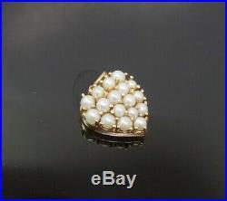 Vintage 1950s 14K Gold Pave Pearl Heart Charm Bracelet Charm Pendant