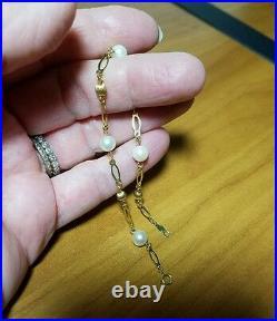Vintage 1960's BOJAR 14 kt yellow gold pearl link Bracelet, 7.5, 3 grams