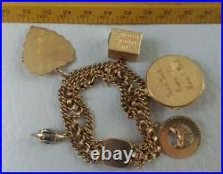 Vintage 1970's 14K Yellow Gold 5 Charms Unusual Triple Strand Bracelet 30 Grams