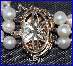 Vintage 3 Row 6mm Cultured Pearl Bracelet 14k Gold Clasp