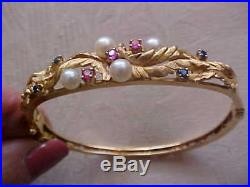 Vintage 50's Pearl Ruby Sapphire 14K Gold Bangle Bracelet Van Gogh 16.6 grams