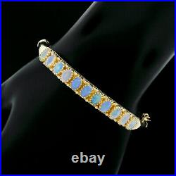 Vintage 6.5 14K Yellow Gold Oval Opal Bead Work Engraved Hinged Bangle Bracelet