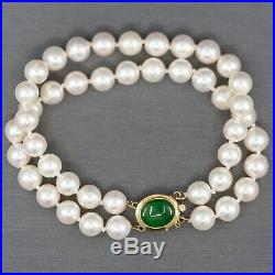 Vintage 7mm Akoya Pearl Double Strand Bracelet with Green Jade Clasp in 14k