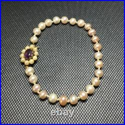 Vintage 9ct Gold Pearl Bracelet With Amethyst Clasp/ 8 Inches Approx / Stunning