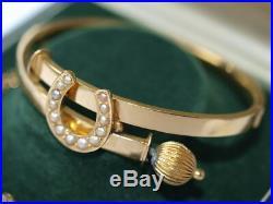 Vintage 9ct gold Pearl Seed Horse Shoe bangle bracelet 10 grams Wear or Scrap
