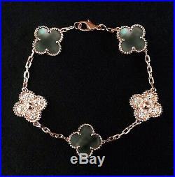 Vintage Alhambra 5 Motifs 18 K Solid Gold Bracelet AU 750
