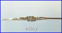 Vintage Aquamarine And Pearl 14k Yellow Gold Bracelet