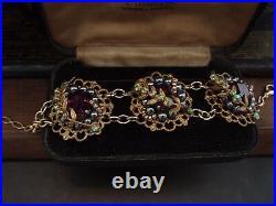 Vintage Bracelet Amethyst & Peridot Crystal & Haskell Gold leaves, Adjustable