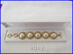 Vintage Costume YSL Yves Saint Laurent France Faux Pearl Bracelet Gold Coloured