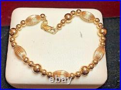 Vintage Estate 14k Gold Bracelet Chain Designer Signed Eg Eternagold Beads