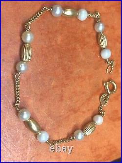 Vintage Estate 18k Gold Pearl 18k Gold Bead Station Bracelet Signed 750 Unoar