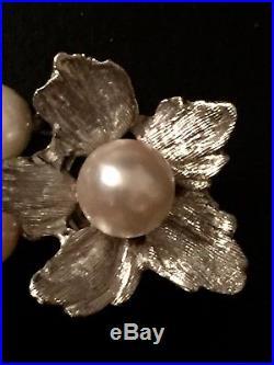 Vintage Estate Genuine Cultured Pearl Diamond Bracelet 14k Solid Gold Calsp
