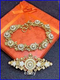 Vintage Estate Gold Designer Signed Florenza Brooch Faux Pearl Bracelet Set