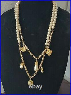 Vintage Givenchy Faux Pearl Gold Tone Chain Dangle Charm Long Necklace