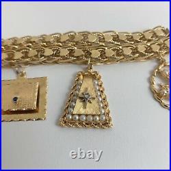 Vintage Heart Clover September Pearl Charm Bracelet 14K Yellow Gold, 70.8 Grams