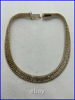 Vintage IG USA Imperial Gold 14k yellow gold chain bracelet woven bead Riccio