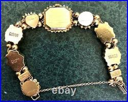Vintage Joshua Ladies 14k Gold Slide Bracelet Kljci 10 Slides Watch 30 Grams