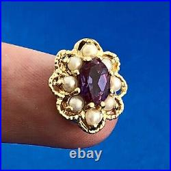 Vintage KLJCI Richard Klein 14K Yellow Gold Amethyst Pearl Slide Bracelet Charm
