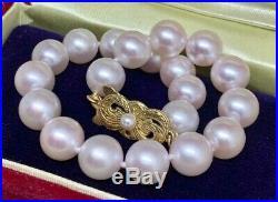 Vintage Mikimoto 8.5-8 MM Large 7.5 Inch Akoya Pearl 18 Kt Bracelet 011320-b1