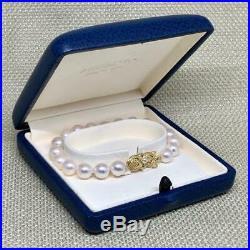 Vintage Mikimoto 8 MM 7 Inch Akoya Pearl 18 Kt Bracelet 122319-b1