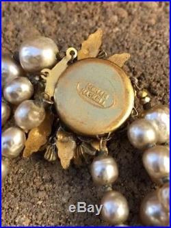 Vintage Miriam Haskell Triple Strand Baroque Pearl & Green Stone Gold Bracelet