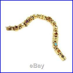 Vintage Multi-Color Gems Pearls 14k Yellow Gold 14 Slide Charms Bracelet