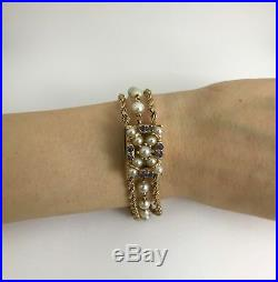 Vintage Nelmor Pearl and Sapphire Bracelet Watch in 14K Yellow Gold, 30.7 Grams