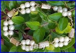 Vintage Retro 14k Gold Pearl Bracelet /Gold Pearl Bracelet/14k Gold Bracelet