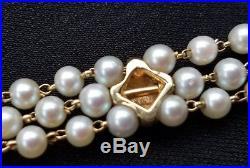 Vintage Retro 14k Yellow Gold Pearl Garnet Bead Bracelet Estate Jewelry Ladies