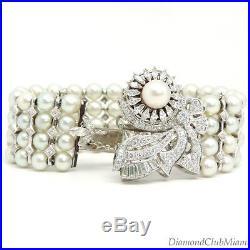Vintage Retro 6.18ct Diamond Pearl Le Courier Watch/Bracelet 14kt Gold 67.4g
