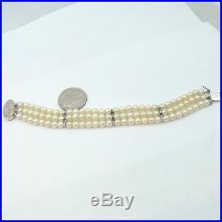 Vintage Retro Deco 14K Gold Sapphire Triple Strand 5mm Akoya Pearl Bracelet