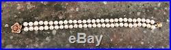 Vintage Ruby&14KY/Gold Rose Clasp 5.9 MM White Pearl Dbl. Strand 7.25 Bracelet