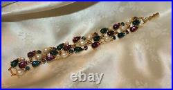 Vintage Trifari Gold Tone Faux Pearl and Cabochon Bracelet