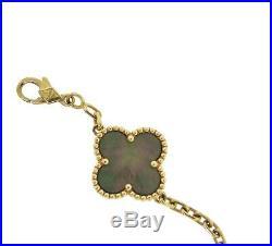 Vintage Van Cleef & Arpels Rose Gold Mother of Pearl Alhambra Bracelet, 5 Motif