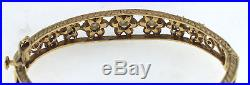 Vintage Victorian Solid 14K Yellow Gold Pearl Bangle Bracelet 6.5 10mm 15.2g
