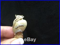 Vtg 14K Geneva Gold Watch Diamond Bracelet Textured Mother Of Pearl Works